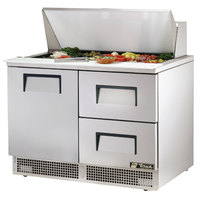 True TFP-48-18M-D-2 48 inch 1 Door 2 Drawer Mega Top Refrigerated Sandwich Prep Table