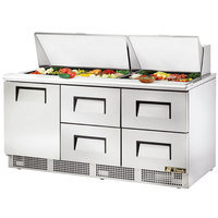 True TFP-72-30M-D-4 72 inch One Door / Four Drawer Sandwich / Salad Prep Refrigerator