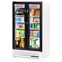True GDM-30-LD White Glass Swing Door Merchandiser Refrigerator with LED Lighting