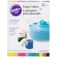 Wilton 601-5580 Variety Pack Gel Food Coloring .5 oz Bottles - 12/Pack