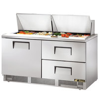 True TFP-64-24M-D-2 64 inch One Door / Two Drawer Sandwich / Salad Prep Refrigerator
