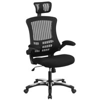 High-Back Black Mesh Executive Office Chair with Flip-Up Arms and Chrome / Nylon Base