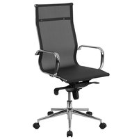 Flash Furniture BT-2768H-GG High-Back Black Mesh Executive Office Chair with Chrome Arms and Tilt Adjustment