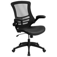 Mid-Back Black Mesh and Leather Office Chair with Flip-Up Arms and Nylon Base