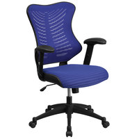 Flash Furniture BL-ZP-806-BL-GG High-Back Blue Mesh Executive Office Chair with Padded Seat and Nylon Base