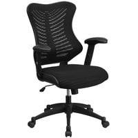 Flash Furniture BL-ZP-806-BK-GG High-Back Black Mesh Executive Office Chair with Padded Seat and Nylon Base