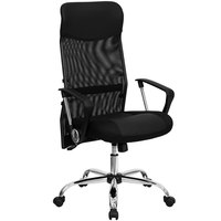 Flash Furniture BT-905-GG High-Back Black Mesh Office Chair with Split Leather and Mesh Seat and Chrome Base