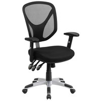 Flash Furniture GO-WY-89-GG Mid-Back Black Mesh Ergonomic Office Chair with Triple Paddle Control and Height-Adjustable Arms and Back