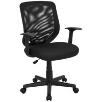 Flash Furniture LF-W-95A-BK-GG Mid-Back Black Mesh Office Chair with Mesh Fabric Seat and Nylon Base