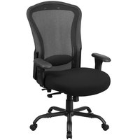 High-Back Black Mesh Intensive-Use Multi-Functional Swivel Office Chair with Reinforced Back Support and Adjustable Pivot Arms