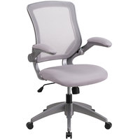 Flash Furniture BL-ZP-8805-GY-GG Mid-Back Gray Mesh Office Chair / Task Chair with Flip-Up Arms and Nylon Base