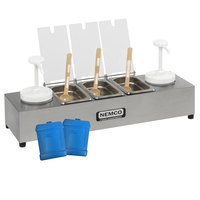 Nemco 88101-CB-2P 24 inch Stainless Steel Condiment Bar with Two 1.5 Qt. Pumps, 0.6 Qt. Condiment Trays, and Two Ice Packs
