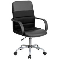 Flash Furniture LF-W-61B-2-GG Mid-Back Black Mesh Office Chair with Leather Seat and Nylon Base