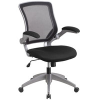 Flash Furniture BL-ZP-8805-BK-GG Mid-Back Black Mesh Office Chair / Task Chair with Flip-Up Arms and Nylon Base