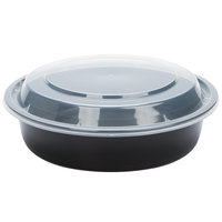 24 oz. Black 7 inch Round Microwavable Container with Lid   - 10/Pack