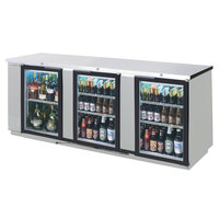 Beverage-Air BB72HC-1-GS-PT-S 72 inch Stainless Steel Glass Door Pass-Through Back Bar Refrigerator