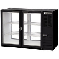 Beverage-Air BB48HC-1-G-PT-B 48 inch Black Glass Door Pass-Through Back Bar Refrigerator