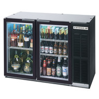 Beverage-Air BB48GY-1-B-PT-LED 48 inch Black Glass Door Pass-Through Back Bar Refrigerator