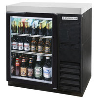 Beverage-Air BB36HC-1-G-B-27 36 inch Black Glass Door Back Bar Refrigerator with 2 inch Stainless Steel Top