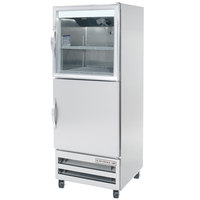 Beverage-Air RI18-HGS-LED 27 inch One Section Glass and Solid Half Door Reach-In Refrigerator - 18 cu. ft.