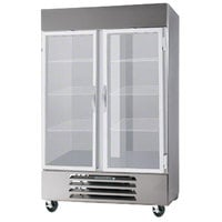 Beverage-Air HBR44HC-1-G 47 inch Horizon Series Two Section Glass Door Reach-In Refrigerator with LED Lighting