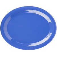 Carlisle 3308014 Sierrus 13 1/2 inch x 10 1/2 inch Ocean Blue Oval Melamine Platter - 12/Case