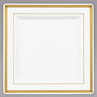 Fineline Silver Splendor 5507-BO 7 1/4 inch Bone / Ivory Customizable Plastic Square Plate with Gold Bands - 120/Case