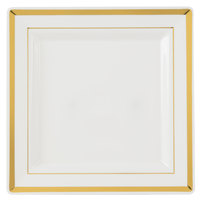 Fineline Silver Splendor 5507-BO 7 1/4 inch Bone / Ivory Plastic Square Plate with Gold Bands - 120/Case