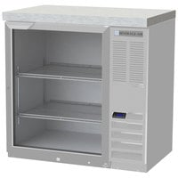 Beverage-Air BB36HC-1-G-S-27 36 inch Stainless Steel Glass Door Back Bar Refrigerator with 2 inch Stainless Steel Top