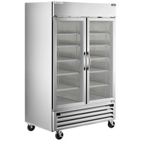 Beverage-Air HBRF49G-1-B 52 inch Horizon Series Two Section Dual Temperature Reach-In Refrigerator / Freezer with Glass Doors and LED Lighting