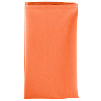22 inch x 22 inch Orange 100% Polyester Hemmed Cloth Napkin - 12/Pack