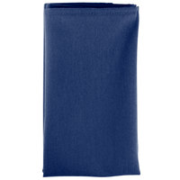 18 inch x 18 inch Royal Blue 100% Polyester Hemmed Cloth Napkin - 12/Pack
