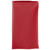 20 inch x 20 inch Red 100% Polyester Hemmed Cloth Napkin - 12/Pack