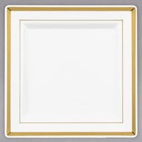 Fineline Silver Splendor 5507-BO 7 1/4 inch Bone / Ivory Plastic Square Plate with Gold Bands - 10/Pack