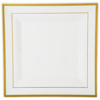 Fineline Silver Splendor 5510-BO 10 inch Bone / Ivory Customizable Plastic Square Plate with Gold Bands - 120/Case