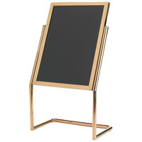 Aarco P-17B Brass 25 inch x 48 inch Double Pedestal Sign Stand with Markers