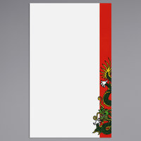 8 1/2 inch x 14 inch Menu Paper - Asian Themed Dragon Design Right Insert - 100/Pack