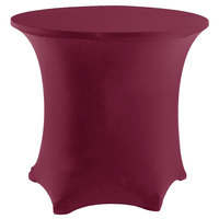 Snap Drape CN420R4830046 Contour Cover 48 inch Round Burgundy Spandex Table Cover