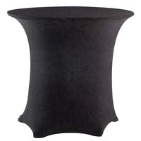 Snap Drape EMBCC48R-BLACK Contour Cover 48 inch Round Black Embossed Deco Spandex Table Cover