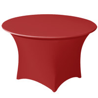 Snap Drape CC66R-CRIMSON Contour Cover 66 inch Round Crimson Spandex Table Cover