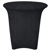 Snap Drape EMBCC30R-BLACK Contour Cover 30 inch Round Black Embossed Deco Spandex Table Cover