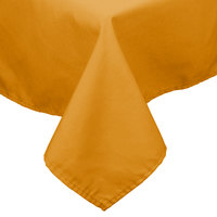 54 inch x 114 inch Gold 100% Polyester Hemmed Cloth Table Cover