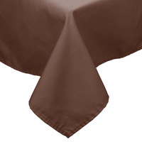 54 inch x 114 inch Brown 100% Polyester Hemmed Cloth Table Cover