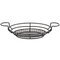 American Metalcraft BSKB811 Black Oblong Wire Basket with Ramekin Holders - 11 inch x 8 inch x 3 1/4 inch