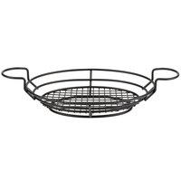 American Metalcraft BSKB811 Black Oblong Wire Basket with Ramekin Holders - 11 inch x 8 inch x 3 1/4 inch