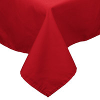 54 inch x 114 inch Red 100% Polyester Hemmed Cloth Table Cover