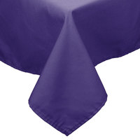 54 inch x 114 inch Rectangular Purple 100% Polyester Hemmed Cloth Table Cover