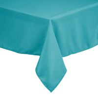 54 inch x 54 inch Square Teal 100% Polyester Hemmed Cloth Table Cover
