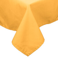 54 inch x 110 inch Gold 100% Polyester Hemmed Cloth Table Cover