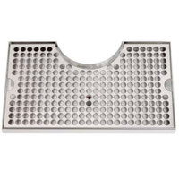 Micro Matic DP-920D 7 inch x 12 inch Stainless Steel Surface Mount Drip Tray with 3 inch Column Cutout and Drain